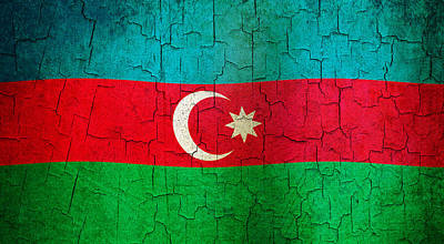 Digital Art - Grunge Azerbaijan Flag by Steve Ball