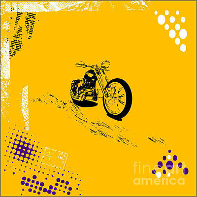Motorcycles Wall Art - Digital Art - Grunge Background Vector by Elanur Us