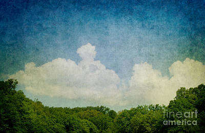 Dirty Linen Digital Art - Grunge Background With Landscape by Mythja  Photography