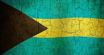 Digital Art - Grunge Bahamas Flag by Steve Ball