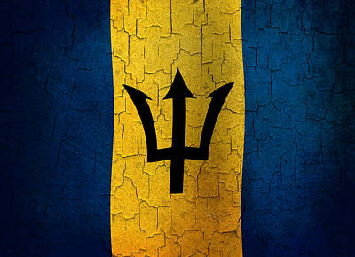 Digital Art - Grunge Barbados Flag by Steve Ball