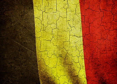 Digital Art - Grunge Belgium Flag by Steve Ball