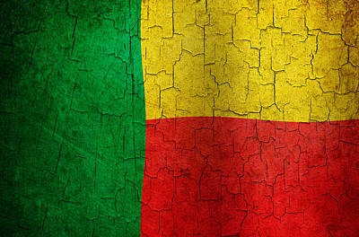 Digital Art - Grunge Benin Flag by Steve Ball