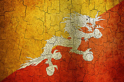 Digital Art - Grunge Bhutan Flag by Steve Ball