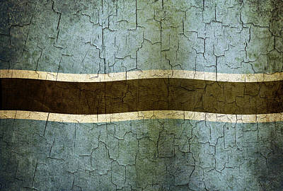 Digital Art - Grunge Botswana Flag by Steve Ball