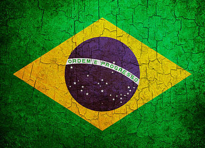 Digital Art - Grunge Brazil Flag by Steve Ball