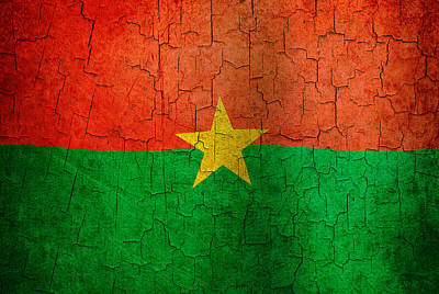 Digital Art - Grunge Burkina Faso Flag by Steve Ball
