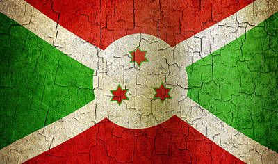 Digital Art - Grunge Burundi Flag by Steve Ball