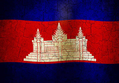 Digital Art - Grunge Cambodia Flag by Steve Ball