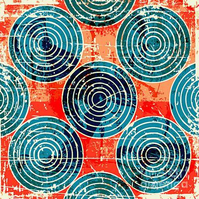 Futuristic Wall Art - Digital Art - Grunge Circles Poster by Nik Merkulov