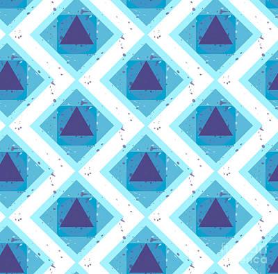 Bright Wall Art - Digital Art - Grunge Colorful Abstract Geometric by Barsrsind