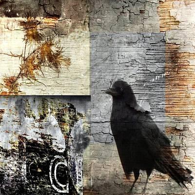 Grunge Crow Collage Art Print