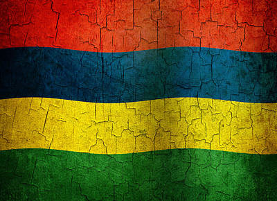 Mauritius Digital Art - Grunge Mauritius Flag by Steve Ball