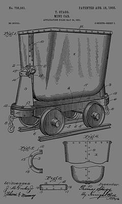Gold Pan Digital Art - Grunge Mine Trolley Patent by Dan Sproul