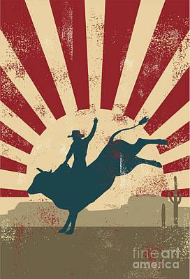 Sunset Digital Art - Grunge Rodeo Poster,vector by Seita