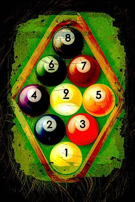 Billiard Digital Art - Grunge Style 9 Ball Rack by David G Paul