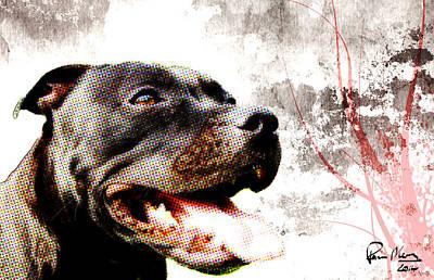 Staffordshire Bull Terrier Digital Art - Grunge Style by Paul Moore