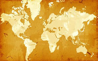 Stylish Map Digital Art - Grunge Style World Map by Modern Art Prints