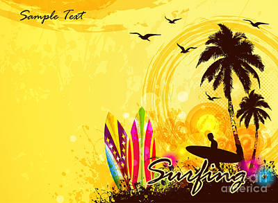 Leisure Wall Art - Digital Art - Grunge Surfer Poster  Tropical by Orgus88