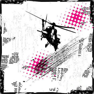 Helicopter Wall Art - Digital Art - Grunge Vector Background Illustration by Elanur Us