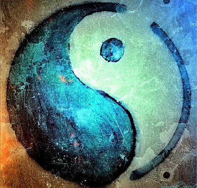 Grunge Yin Yang Water Is Precious Art Print by Danielle  Parent