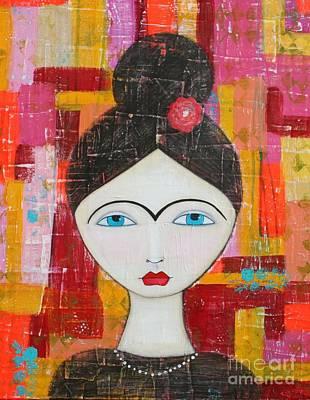 Mixed Media - Grungy Frida by Natalie Briney