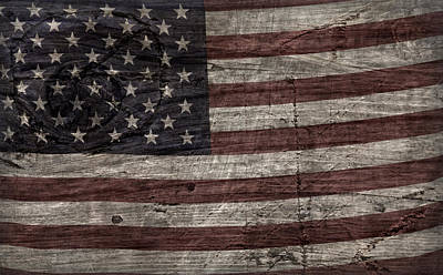 Photograph - Grungy Wooden Textured U.s.a. Flag by John Stephens