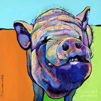 Farm Animal Painting - Grunt    by Pat Saunders-White