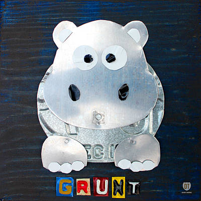 Mixed Media - Grunt The Hippo License Plate Art by Design Turnpike