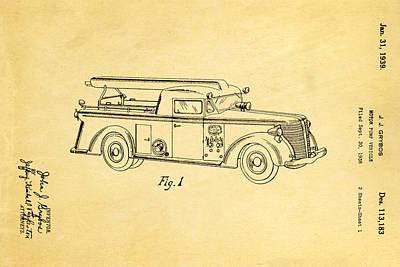 Antique Fire Trucks Photograph - Grybos Fire Truck Patent Art 1939 by Ian Monk
