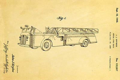 Fire Trucks Photograph - Grybos Fire Truck Patent Art 1940 by Ian Monk