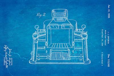 Antique Fire Trucks Photograph - Grybos Fire Truck Patent Art 2 1939 Blueprint by Ian Monk