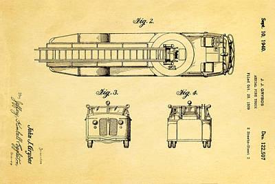 Antique Fire Trucks Photograph - Grybos Fire Truck Patent Art  2 1940 by Ian Monk