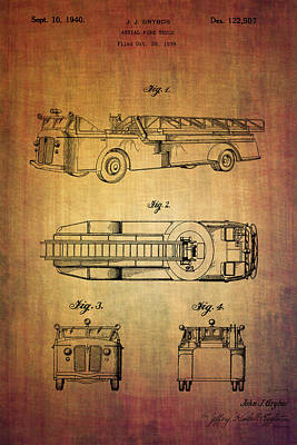 Response Mixed Media - Grybos Fire Truck Patent From 1940 by Eti Reid