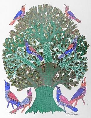 Gond Tribal Art Painting - Gst 20 by Gareeba Singh Tekam
