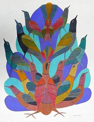 Gond Tribal Art Painting - Gst 21 by Gareeba Singh Tekam