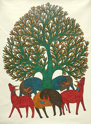 Gond Tribal Art Painting - Gst 25 by Gareeba Singh Tekam