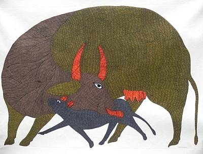 Gond Tribal Art Painting - Gst 28 by Gareeba Singh Tekam