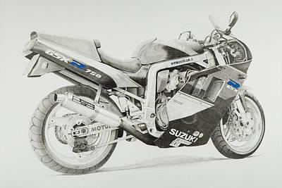 Slingshot Drawing - Gsxr by John Savage