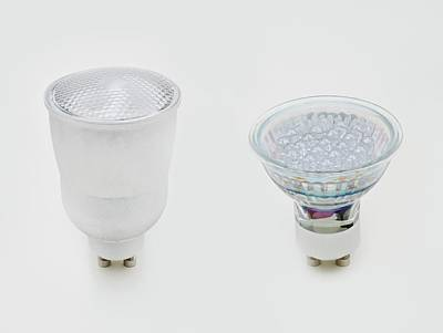 Energy Efficient Photograph - Gu10 Compact Fluorescent Lightbulb by Dorling Kindersley/uig