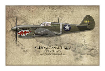 Guadalcanal Tiger P-40 Warhawk - Map Background Art Print