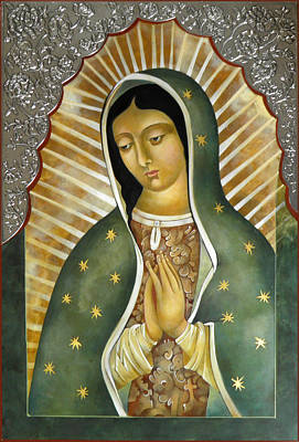 Egg Tempera Painting - Guadalupe  Patron Saint Of The Americas. by Mary Jane Miller