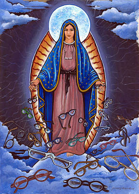 Guadalupe With Glasses Art Print by James Roderick