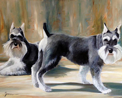 Miniature Schnauzer Painting - Guard Dogs by Mary Sparrow