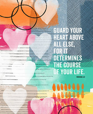 Abstract Mixed Media - Guard Your Heart- contemporary scripture art by Linda Woods