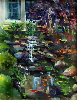 Guardian Angel Oil Painting - Guardian Angel And Koi Pond by Mitzi Lai