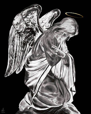 Photograph - Guardian Angel - Bw by Pennie  McCracken