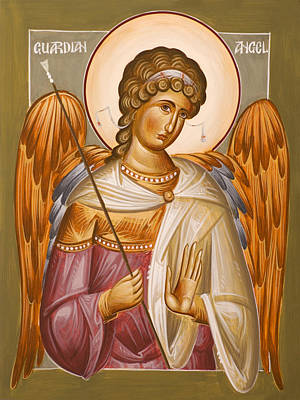 Byzantine Icon Painting - Guardian Angel by Julia Bridget Hayes