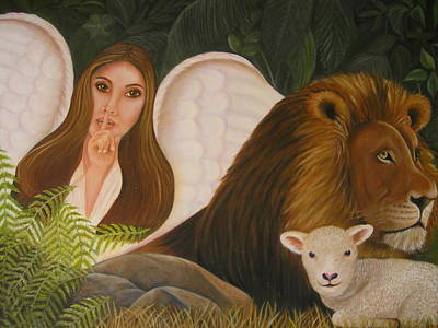 Lion And The Lamb Painting - Guardian Angel by Kay Daniels