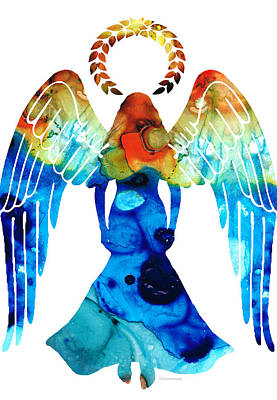 Religious Art Painting - Guardian Angel - Spiritual Art Painting by Sharon Cummings